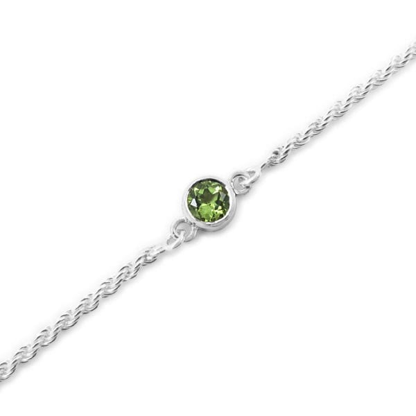 Unique peridot gemstone bracelet with sterling silver rope chain