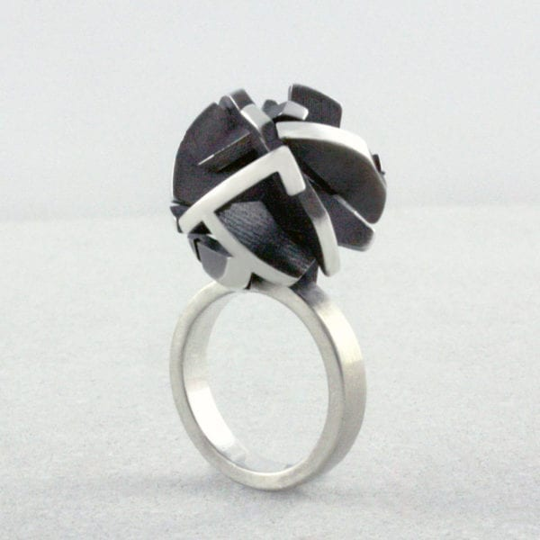 3D printed statement ring in sterling silver and oxidised sterling silver