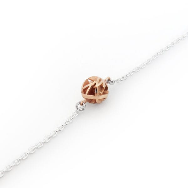 3D printed rose gold bracelet with silver chain