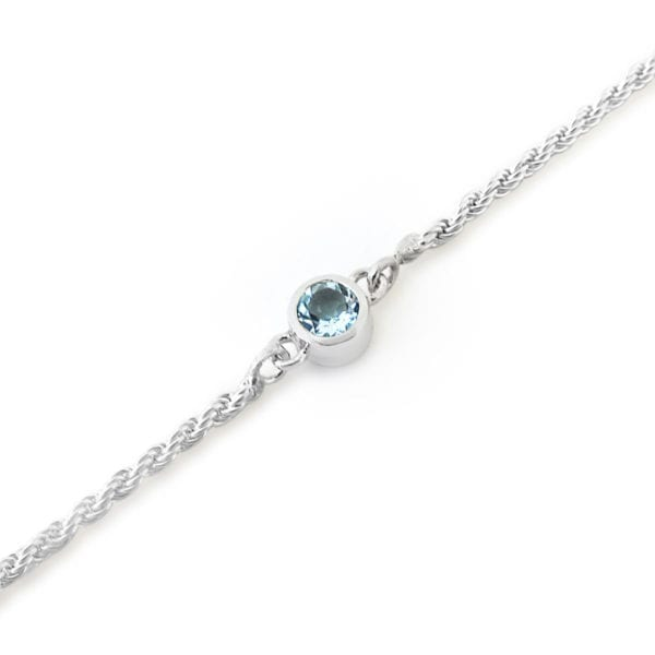 Aquamarine gemstone bracelet in sterling silver
