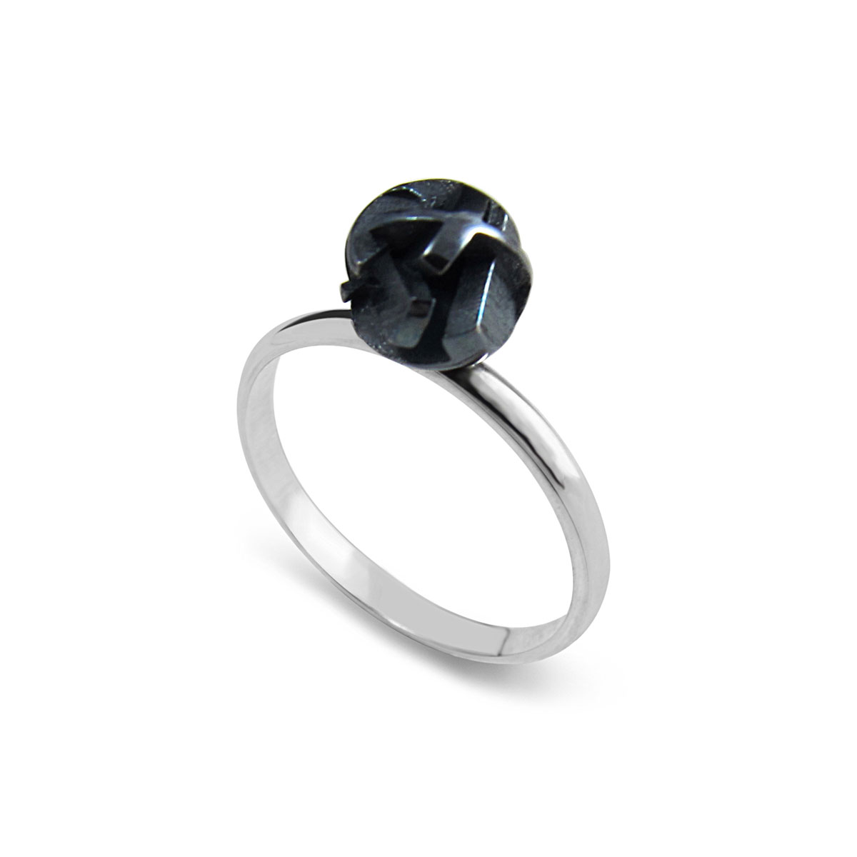Blackened silver ball ring