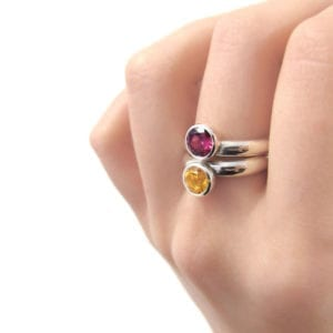 Citrine and rhodolite garnet stacking rings