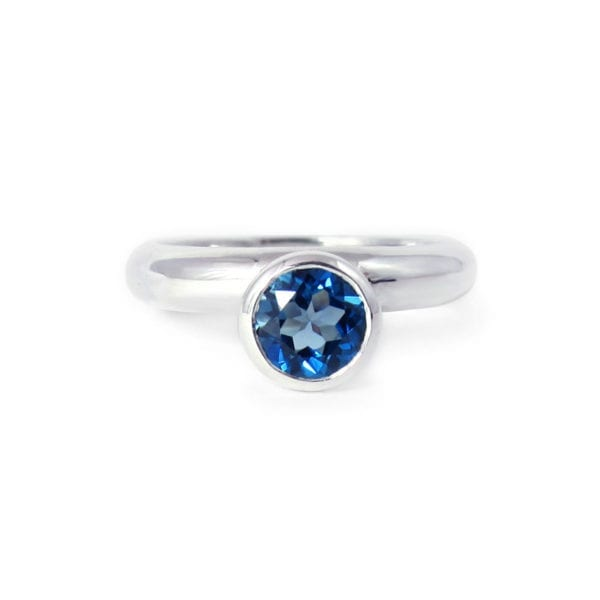 Genuine London blue topaz ring in sterling silver
