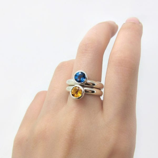 London blue topaz and citrine cocktail rings