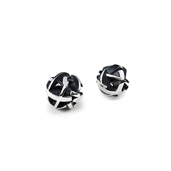Oxidized Negative/Positive silver stud earrings
