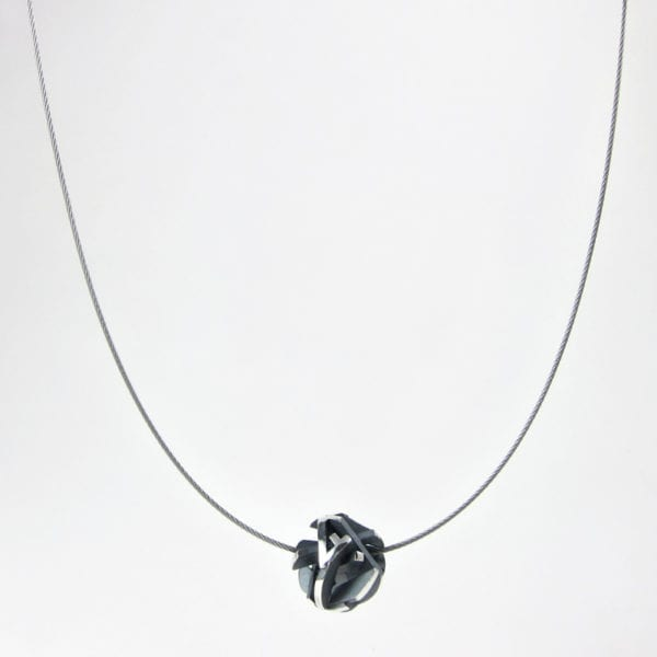 Oxidised silver 3D printed pendant on a stainless steel cable chain