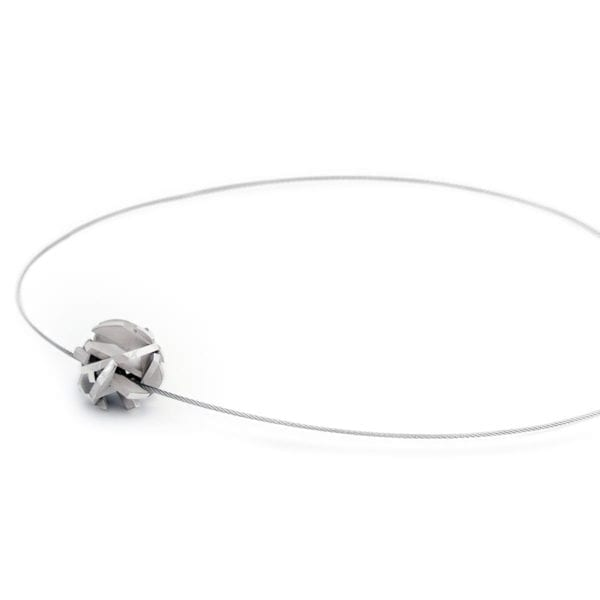 Silver 3D print necklace on stainless steel cable chain