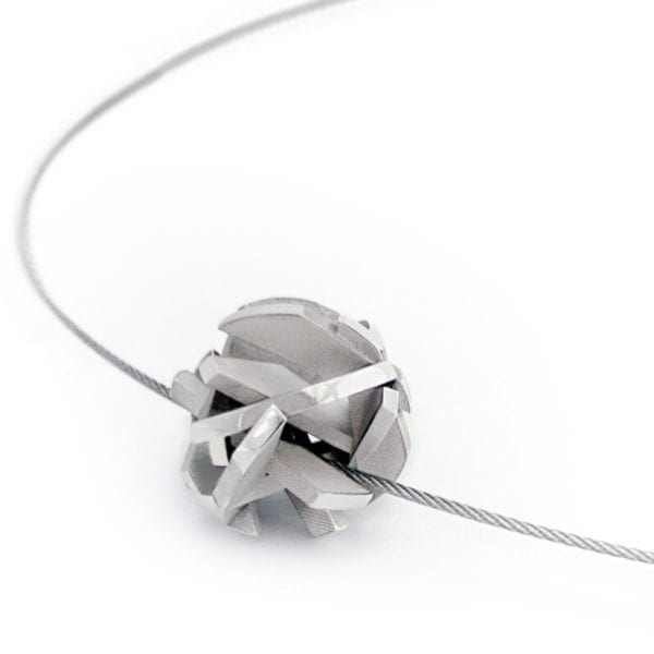 Sterling silver 3D print necklace on stainless steel cable