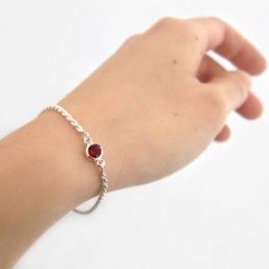 Ruby red garnet birthstone bracelet