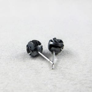 Black 3D printed silver stud earrings
