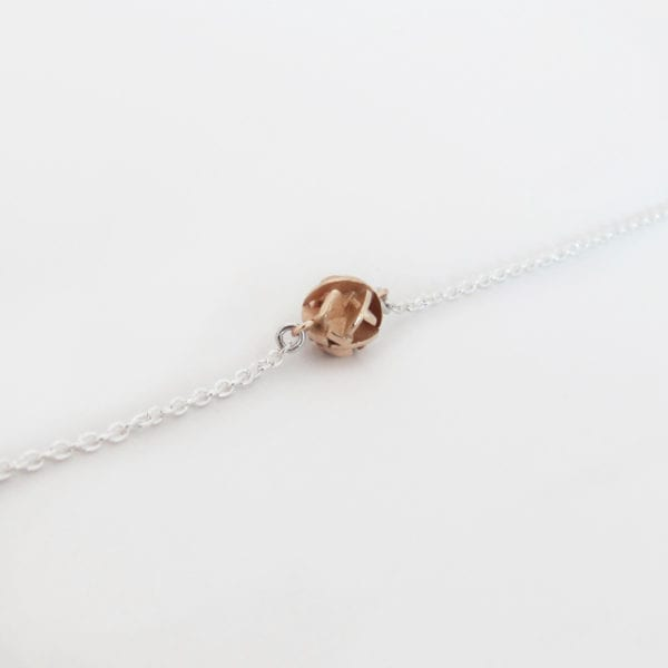 3D printed rose gold bracelet with a sterling silver chain