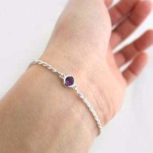 Amethyst birthstone bracelet - February birthstone