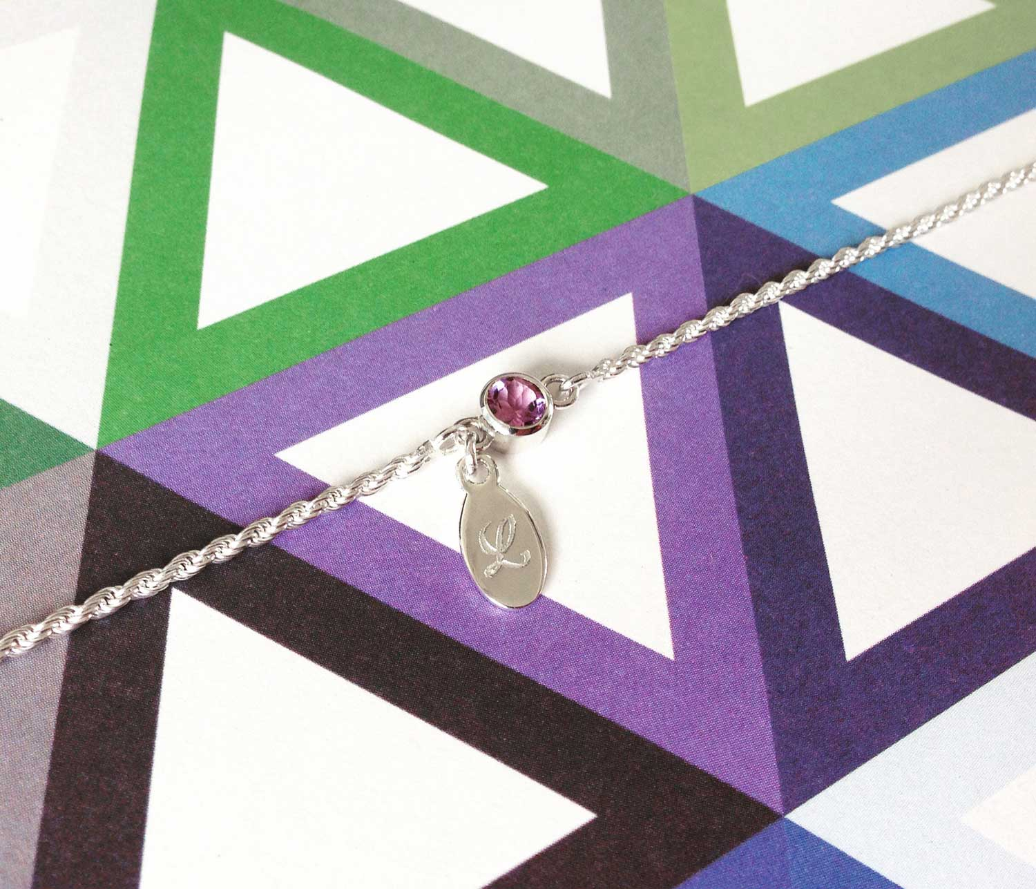 Amethyst bracelet with engraved tag