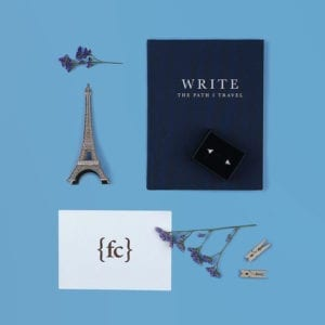 Anniversary gift set with Write To Me linen journal and Paper Planes sterling silver stud earrings