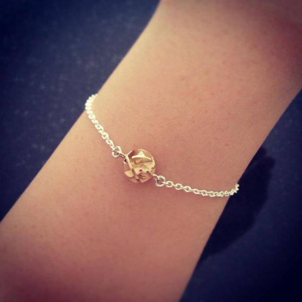 Yellow gold and silver geometric bracelet