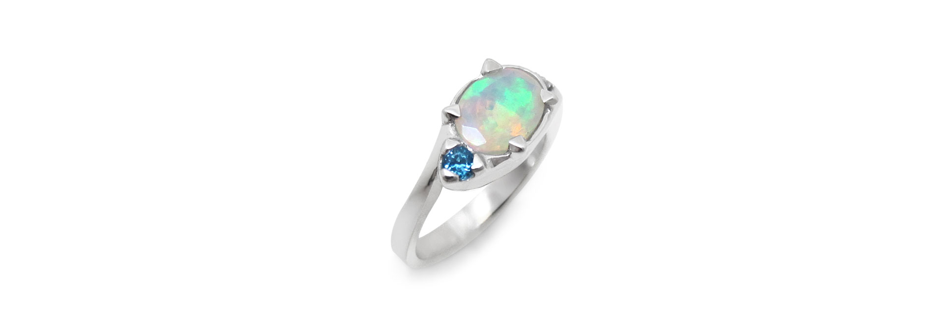White gold and opal custom turtle ring