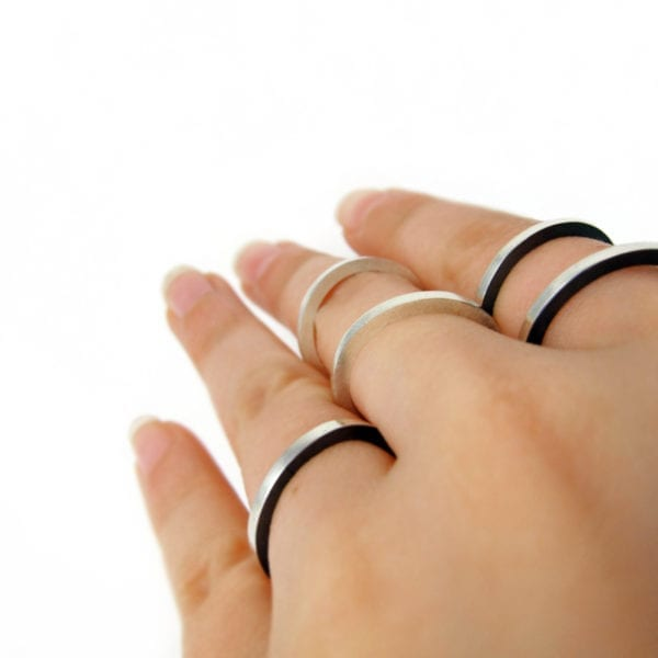 Flat stackable silver ring bands