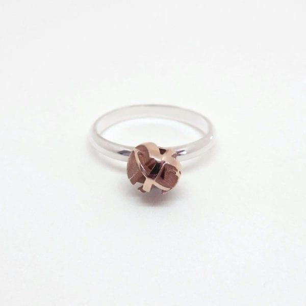 Rose gold silver stacking ring