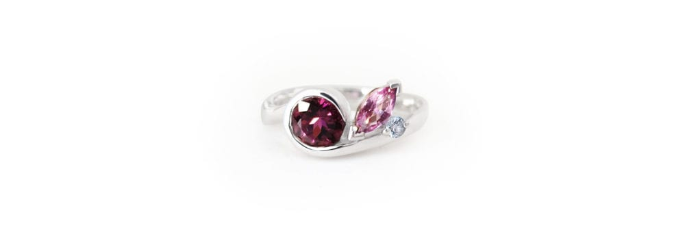Tourmaline, pink sapphire, white sapphire and sterling silver swirl ring, handcrafted jewellery from Sydney, Australia