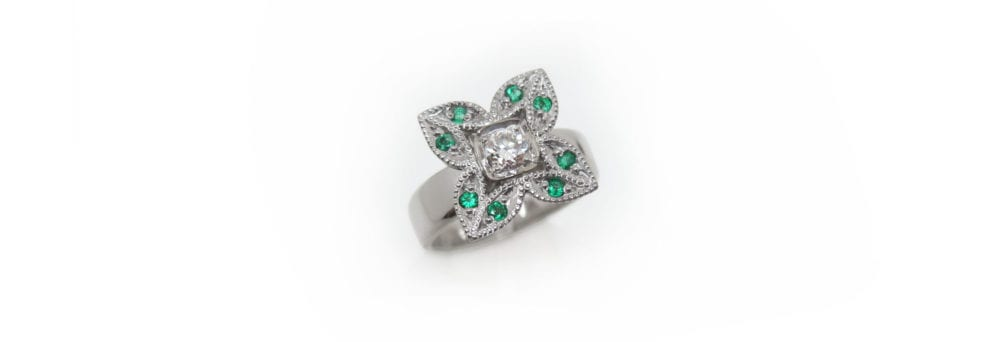 Vintage-style diamond and emerald custom made cocktail ring from grandmother's jewellery