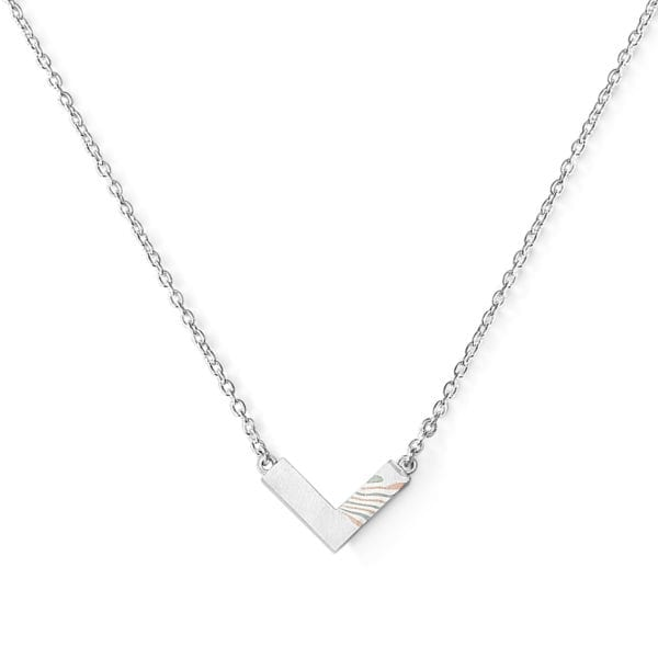 Fifth anniversary gift - Mokume gane rose gold, white gold and sterling silver necklace