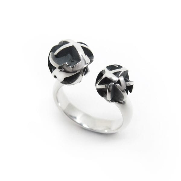 3D printed oxidized sterling silver adjustable ring