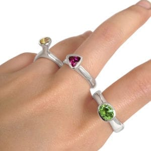 Contemporary gemstone rings in sterling silver