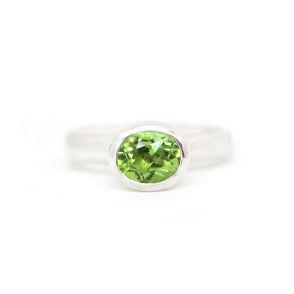 Silver and peridot ring, August birthstone