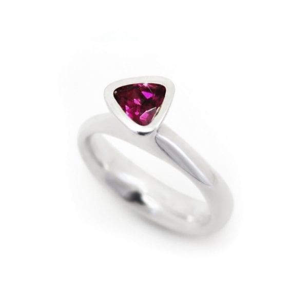 Trilliant rhodolite garnet ring