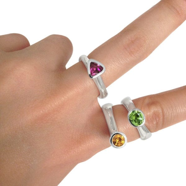 Unique gemstone rings in sterling silver