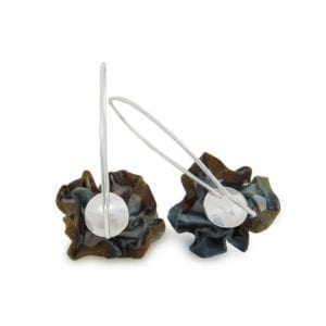 Purple blue flower dangly earrings