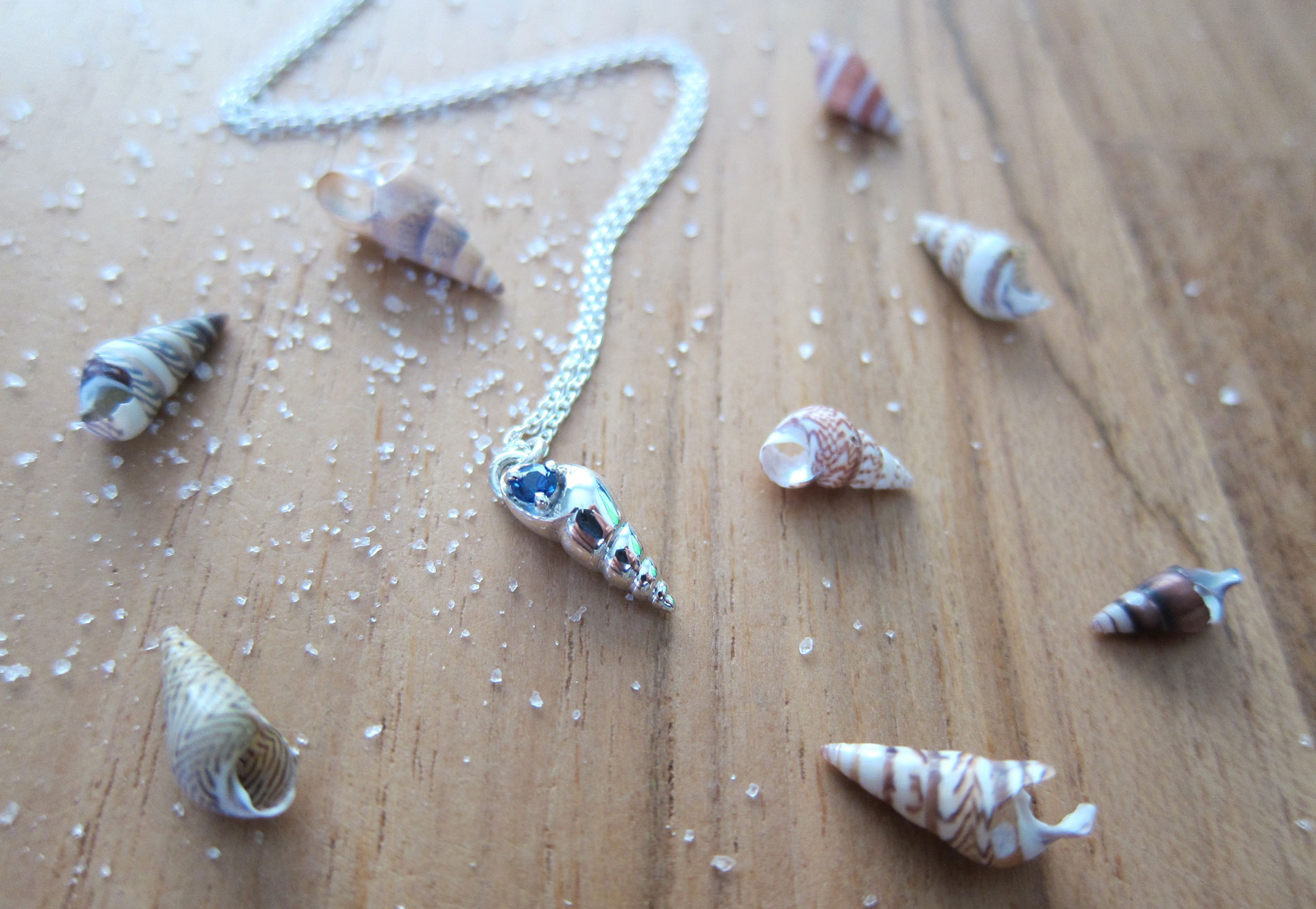 Custom made sapphire and silver beach necklace with seashells