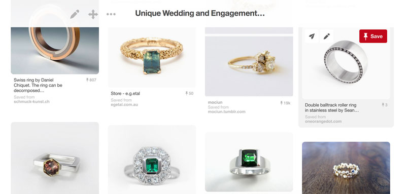 Create an engagement ring mood board on Pinterest