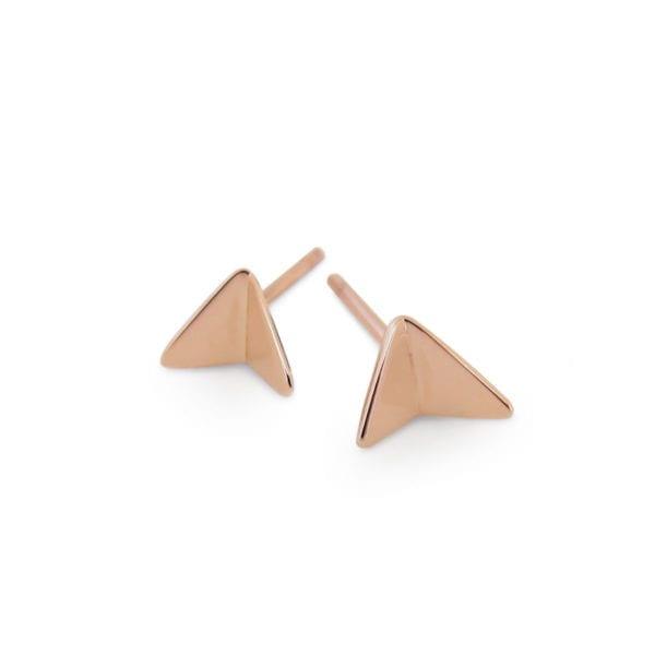 Unique rose gold plane stud earrings