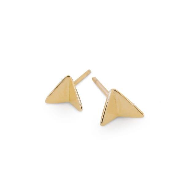 Geometric yellow gold aeroplane earrings