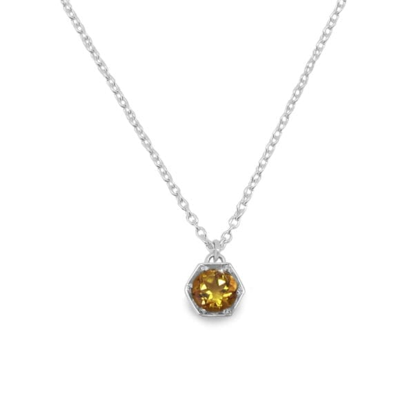 Citrine hexagon necklace in sterling silver