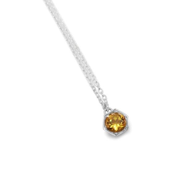 Geometric hexagon pendant with citrine