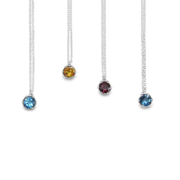 Hexagon gemstone necklaces in sterling silver