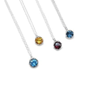 Sterling silver hexagon pendants with citrine, topaz and rhodolite garnet