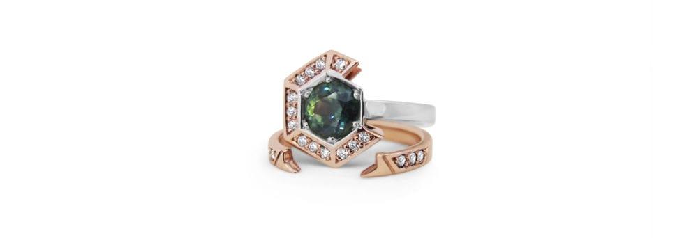 Rose gold hexagon sapphire custom engagement and wedding ring set