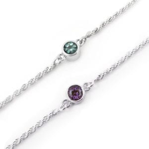 Green and purple alexandrite birthstone bracelet for June birthdays