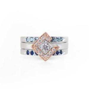 Rose gold, white gold, diamond, sapphire and aquamarine custom ring
