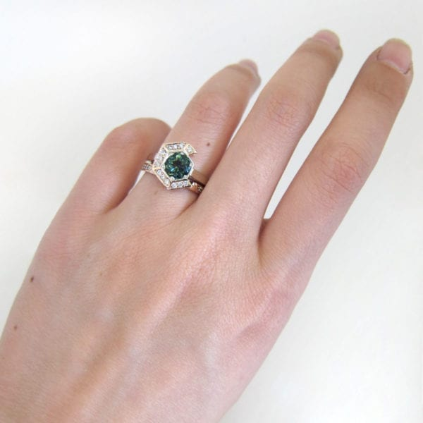 Sapphire engagement ring in a unique hexagon bridal set, by Sydney jewellery designer Fairina Cheng