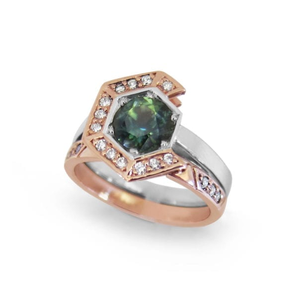 Unique rose gold engagement ring with a modern sapphire design, by Sydney jeweller Fairina Cheng