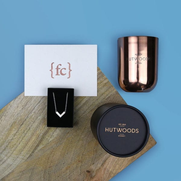 Anniversary gift for her - Mokume gane necklace and luxury wood wick candle