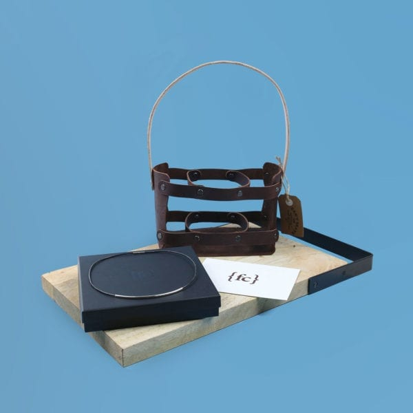 Leather 3rd year anniversary gift set with leather brew holder and sterling silver and leather necklace