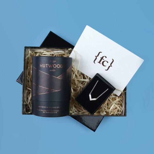 Fifth anniversary gift set for her - Wood wick luxury candle and mokume gane necklace by Fairina Cheng