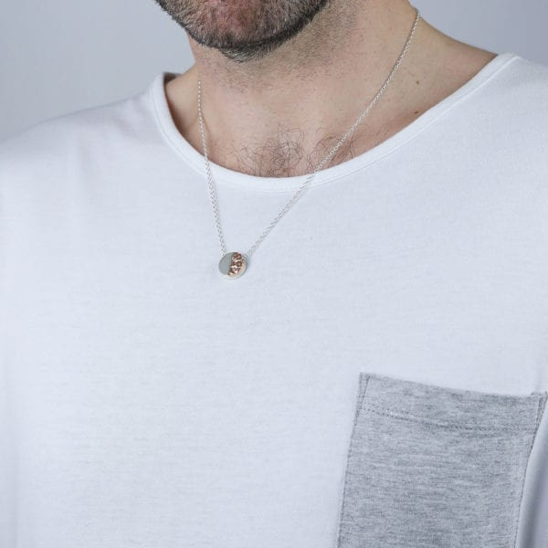 Four Pillars fourth anniversary gift - A silver and rose gold necklace for him