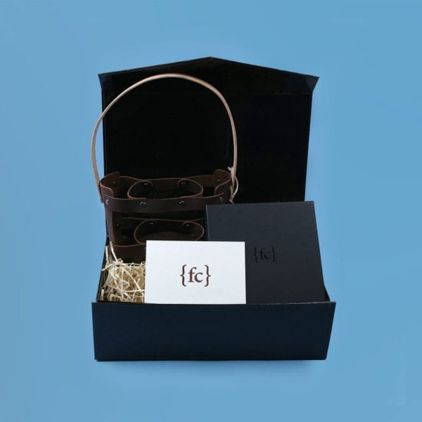 Third anniversary leather gift set with brew holder and necklace