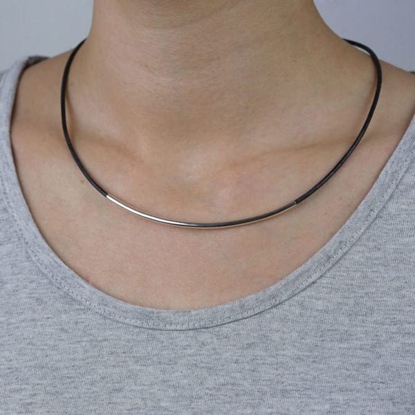 Womens leather and silver necklace for 3rd anniversary gift